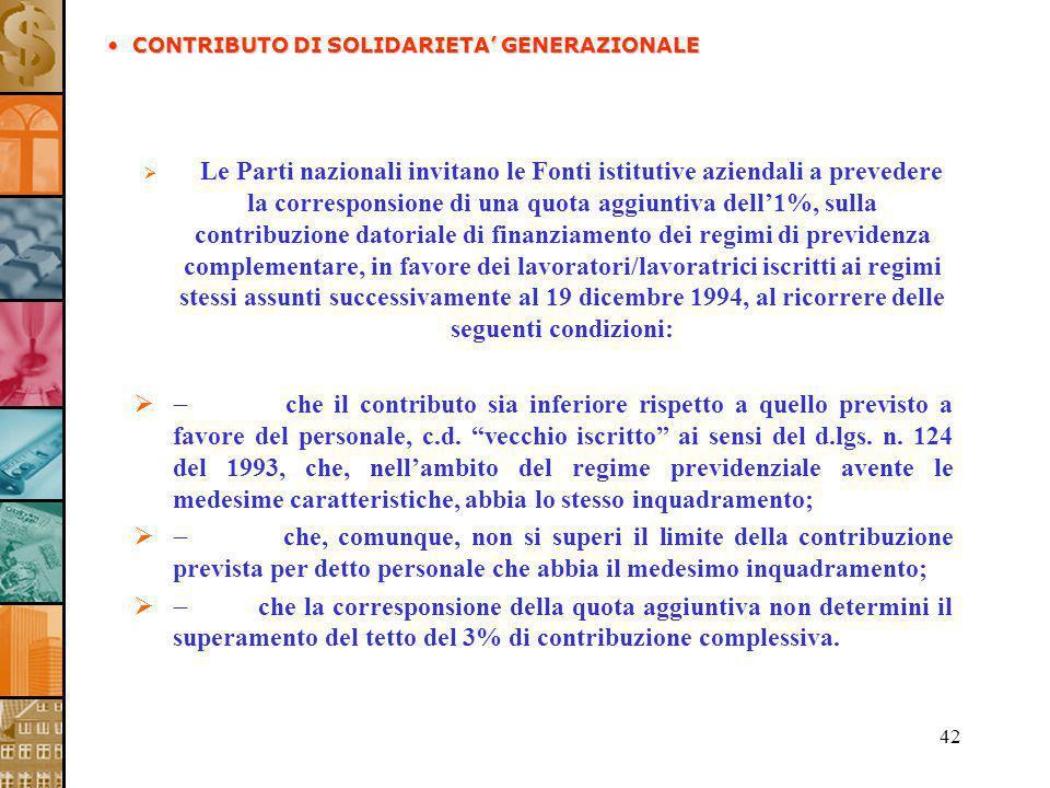 42 Le Parti nazionali invitano le Fonti istitutive aziendali a prevedere la corresponsione di una quota aggiuntiva dell1%, sulla contribuzione datoria