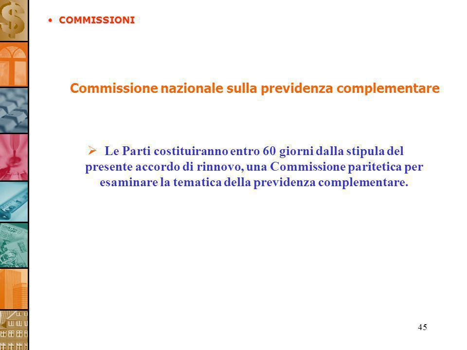 45 Commissione nazionale sulla previdenza complementare Le Parti costituiranno entro 60 giorni dalla stipula del presente accordo di rinnovo, una Comm