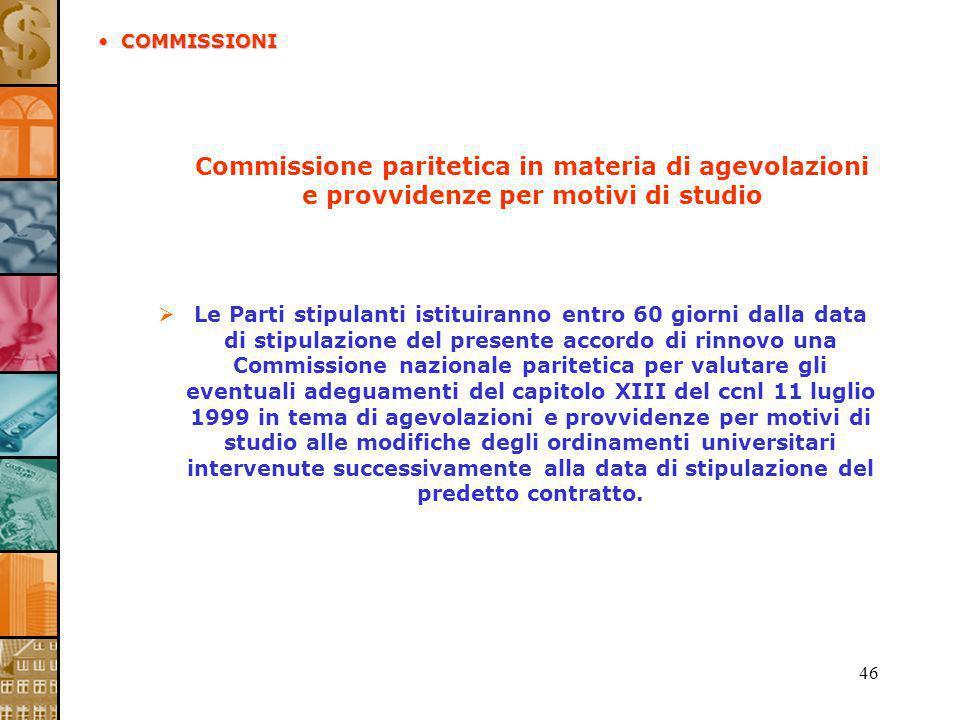 46 Commissione paritetica in materia di agevolazioni e provvidenze per motivi di studio Le Parti stipulanti istituiranno entro 60 giorni dalla data di