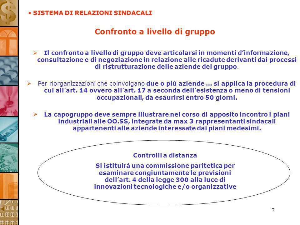 7 Confronto a livello di gruppo Il confronto a livello di gruppo deve articolarsi in momenti dinformazione, consultazione e di negoziazione in relazio