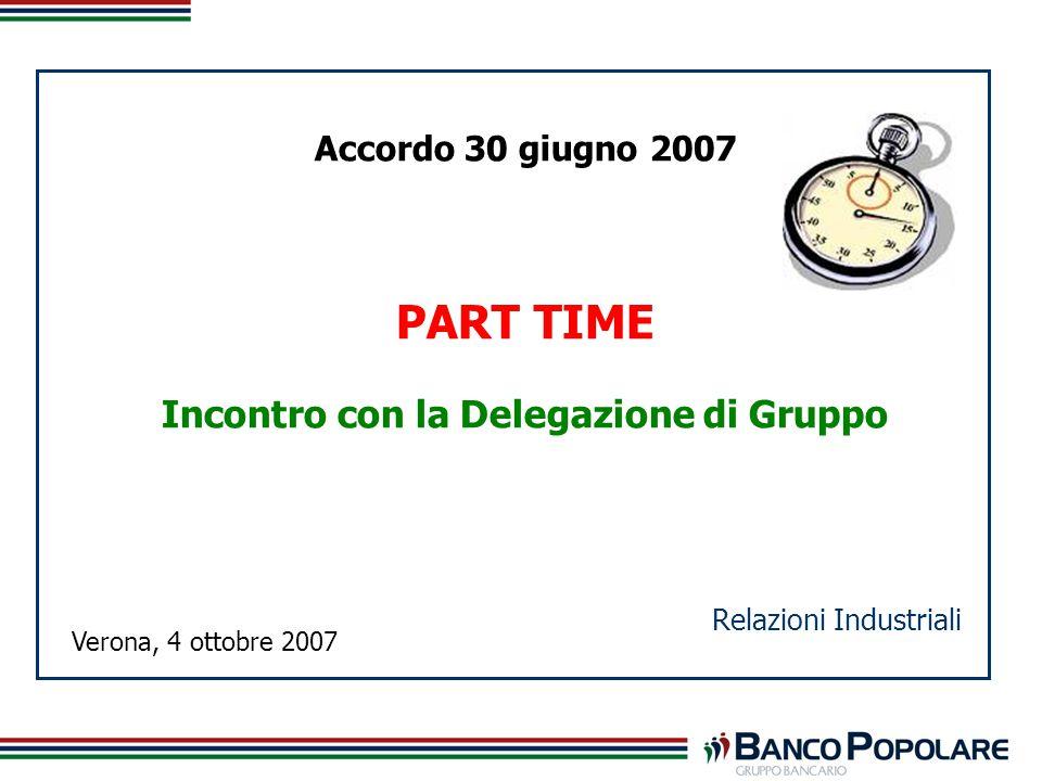 Accordo 30 giugno 2007 PART TIME Incontro con la Delegazione di Gruppo Relazioni Industriali Verona, 4 ottobre 2007