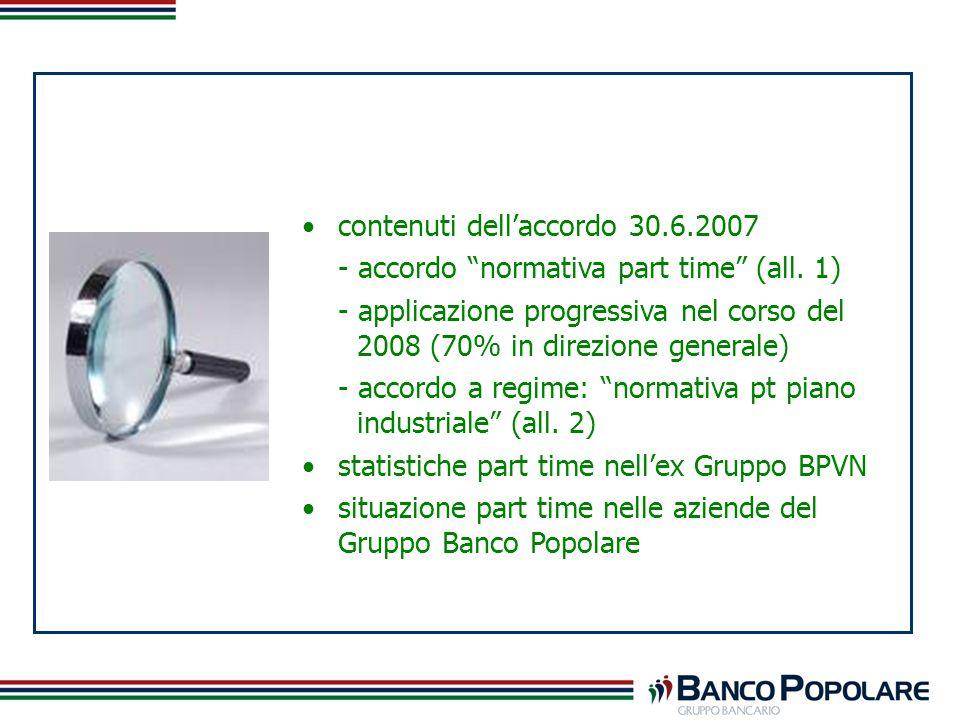 contenuti dellaccordo 30.6.2007 - accordo normativa part time (all. 1) - applicazione progressiva nel corso del 2008 (70% in direzione generale) - acc