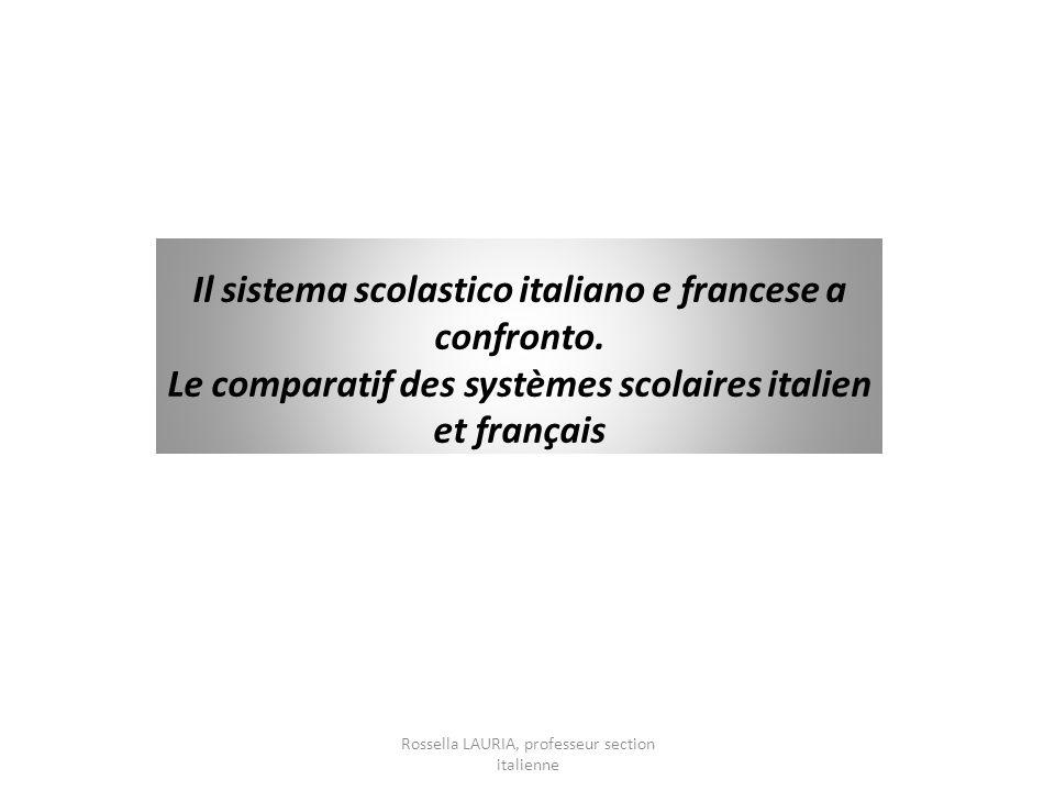 Il sistema scolastico italiano e francese a confronto. Le comparatif des systèmes scolaires italien et français Rossella LAURIA, professeur section it