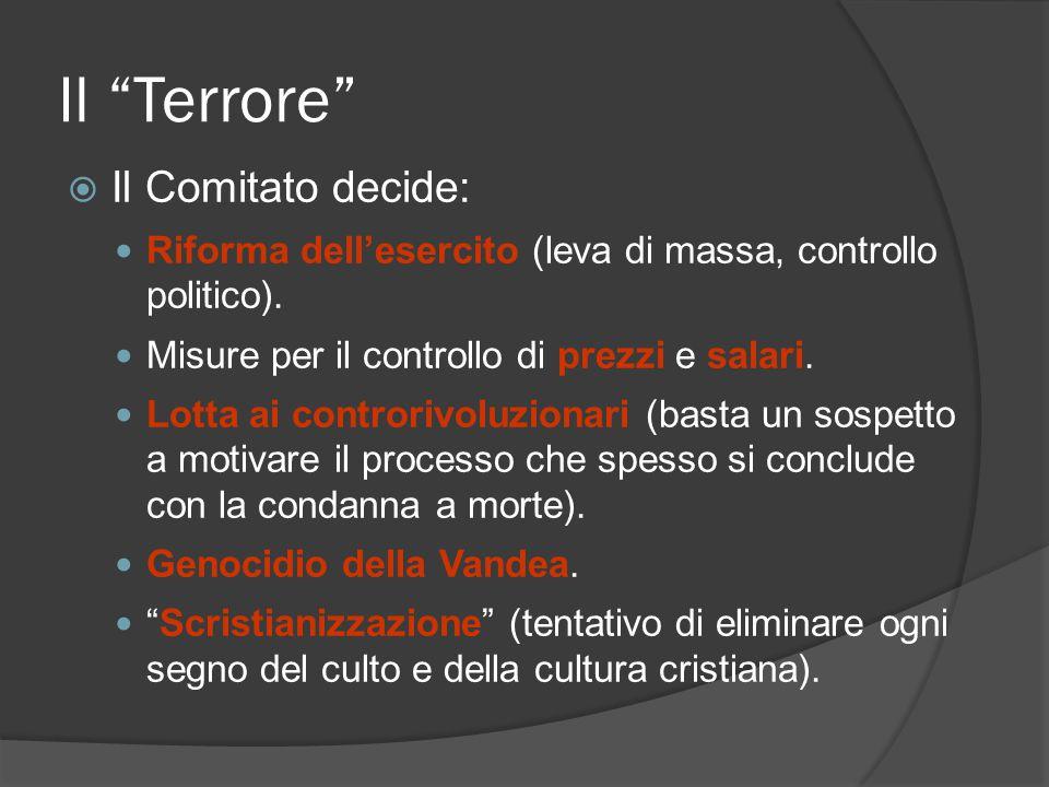 Il Terrore Il Comitato decide: Riforma dellesercito (leva di massa, controllo politico). Misure per il controllo di prezzi e salari. Lotta ai controri