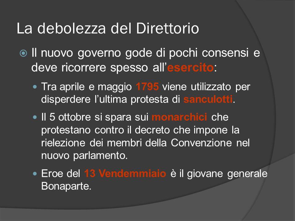 La debolezza del Direttorio Il nuovo governo gode di pochi consensi e deve ricorrere spesso allesercito: Tra aprile e maggio 1795 viene utilizzato per