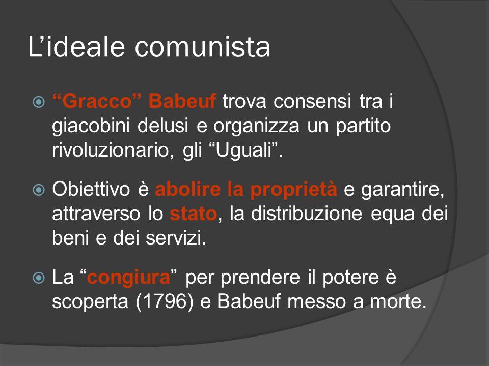 Lideale comunista Gracco Babeuf trova consensi tra i giacobini delusi e organizza un partito rivoluzionario, gli Uguali. Obiettivo è abolire la propri