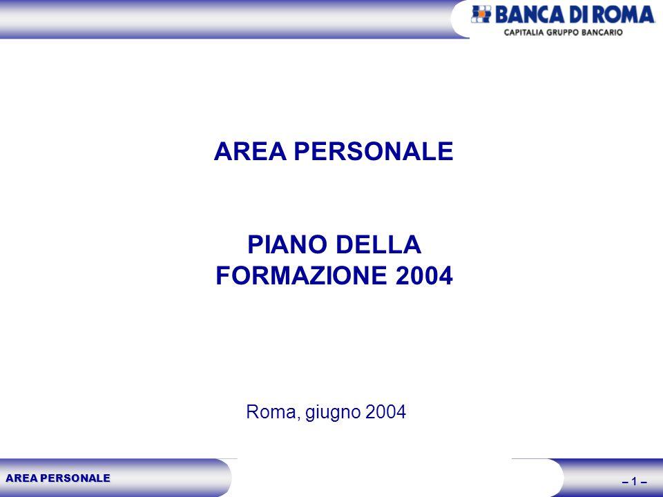 AREA PERSONALE – 1 – AREA PERSONALE PIANO DELLA FORMAZIONE 2004 Roma, giugno 2004
