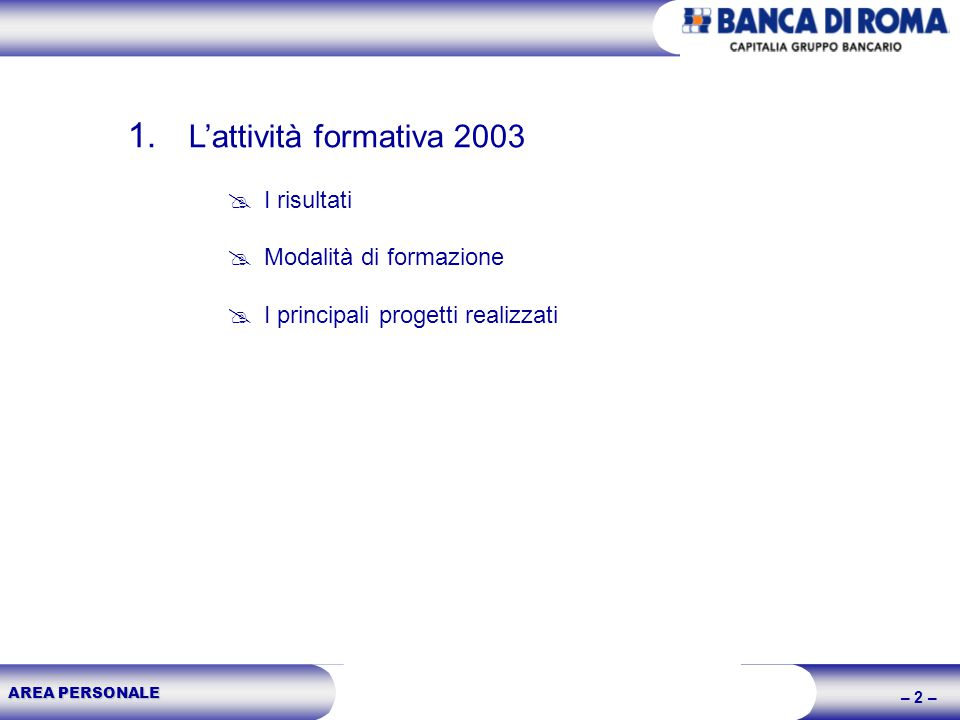 AREA PERSONALE – 2 – 1. Lattività formativa 2003 I risultati Modalità di formazione I principali progetti realizzati