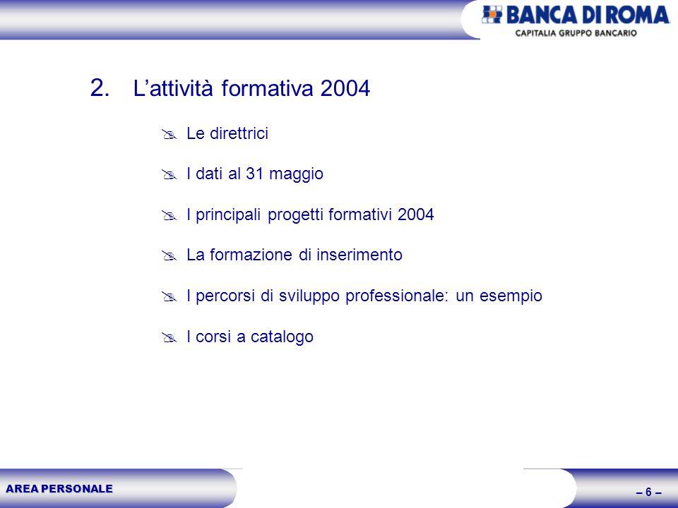 AREA PERSONALE – 6 – 2. Lattività formativa 2004 Le direttrici I dati al 31 maggio I principali progetti formativi 2004 La formazione di inserimento I