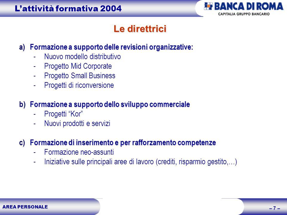 AREA PERSONALE – 7 – Le direttrici Lattività formativa 2004 a)Formazione a supporto delle revisioni organizzative: -Nuovo modello distributivo -Proget