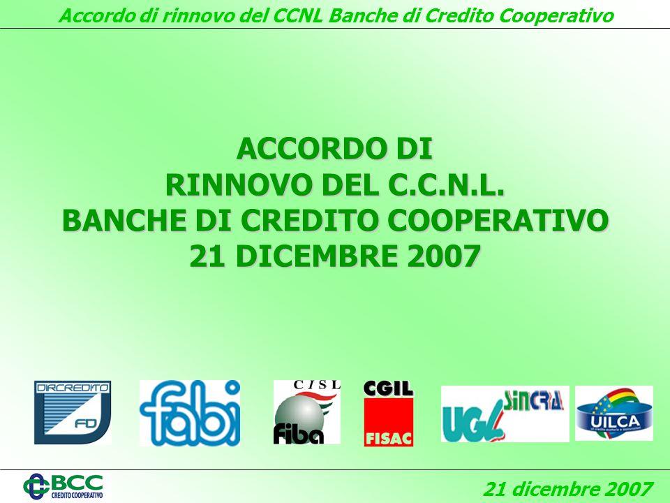 Accordo di rinnovo del CCNL Banche di Credito Cooperativo 21 dicembre 2007 ACCORDO DI RINNOVO DEL C.C.N.L.
