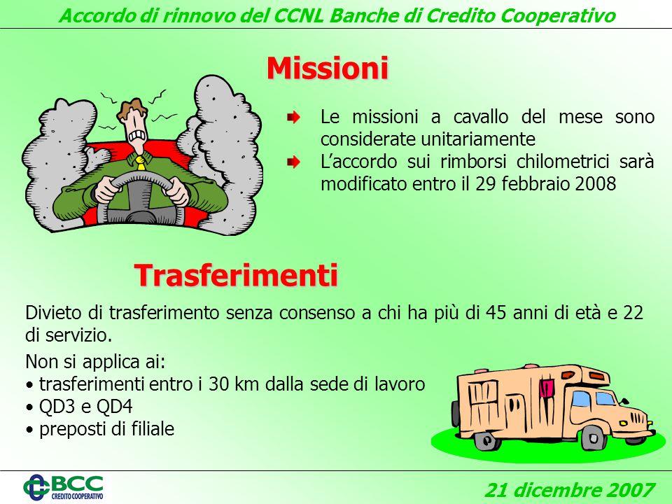 Accordo di rinnovo del CCNL Banche di Credito Cooperativo 21 dicembre 2007 Missioni Divieto di trasferimento senza consenso a chi ha più di 45 anni di età e 22 di servizio.
