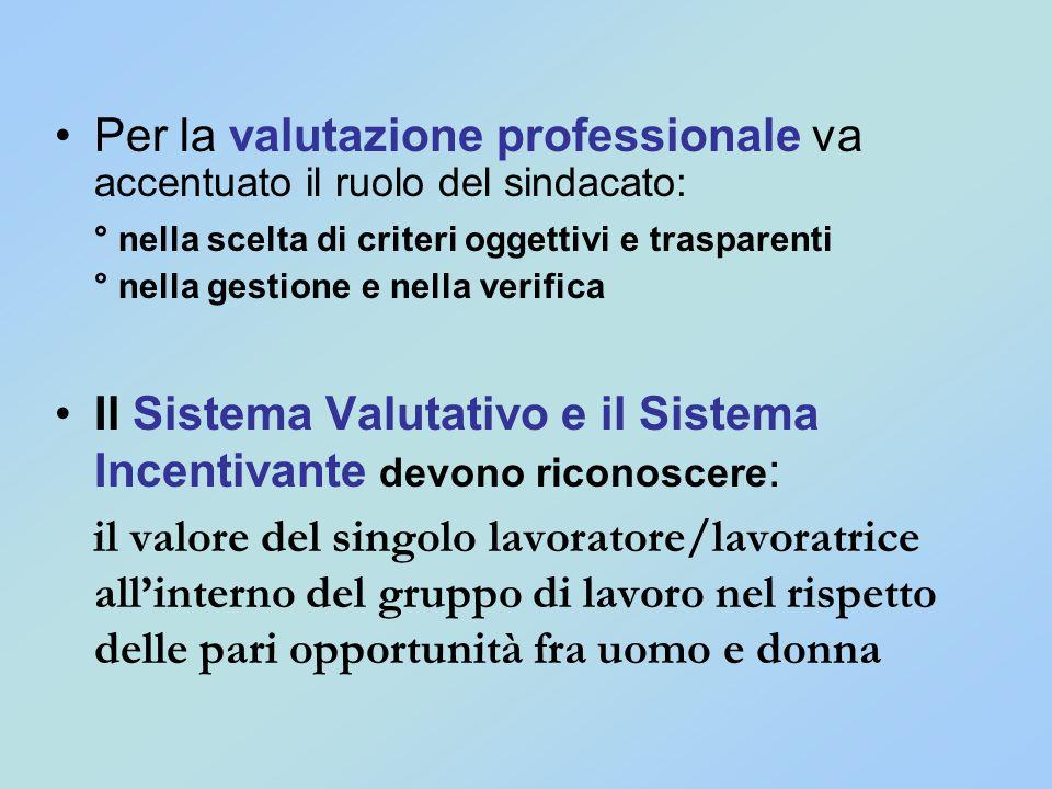 Per la valutazione professionale va accentuato il ruolo del sindacato: ° nella scelta di criteri oggettivi e trasparenti ° nella gestione e nella veri