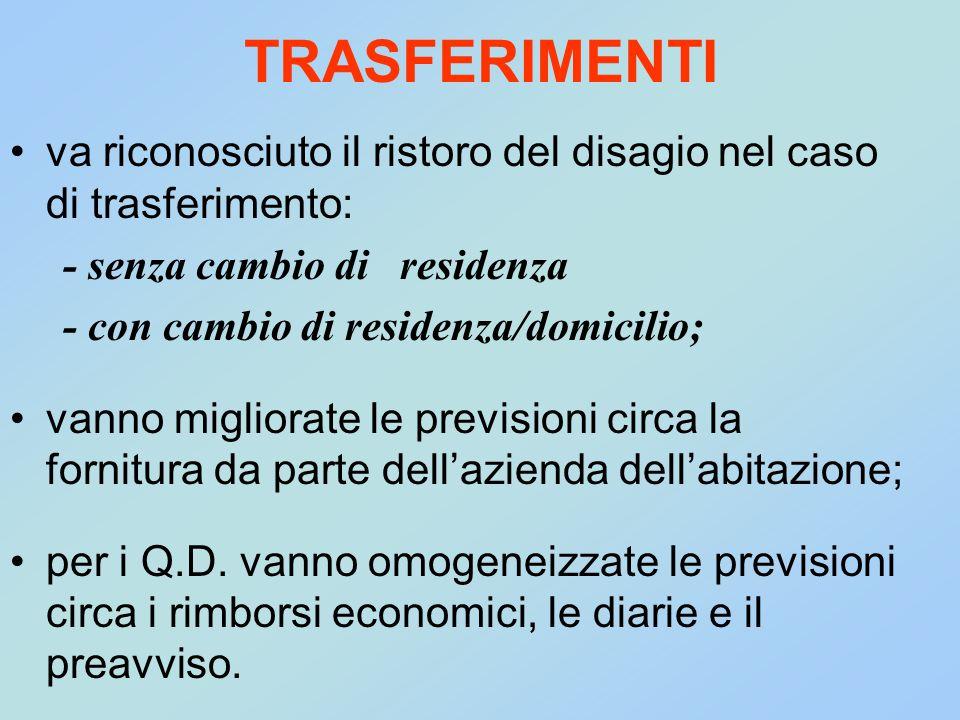 TRASFERIMENTI va riconosciuto il ristoro del disagio nel caso di trasferimento: - senza cambio di residenza - con cambio di residenza/domicilio; vanno