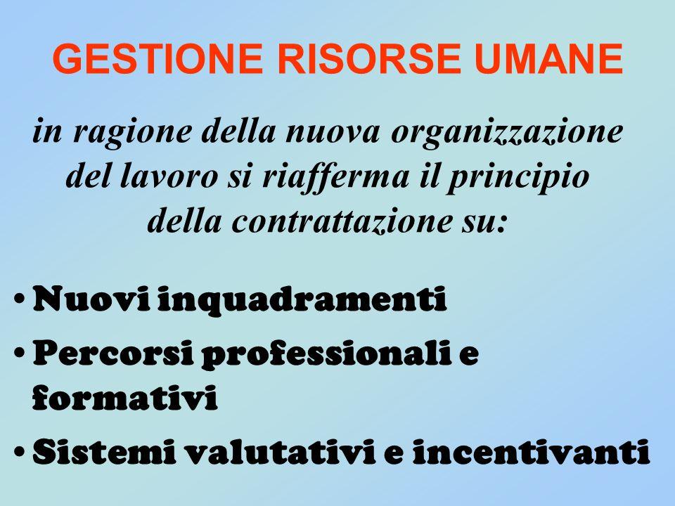 in ragione della nuova organizzazione del lavoro si riafferma il principio della contrattazione su: Nuovi inquadramenti Percorsi professionali e forma