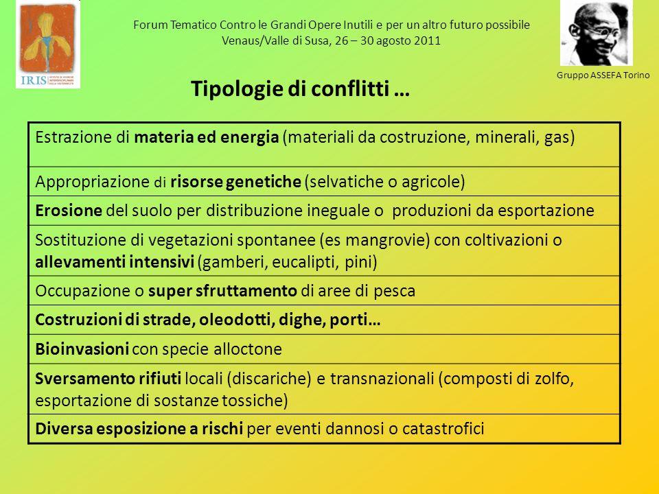Tipologie di conflitti … Estrazione di materia ed energia (materiali da costruzione, minerali, gas) Appropriazione di risorse genetiche (selvatiche o