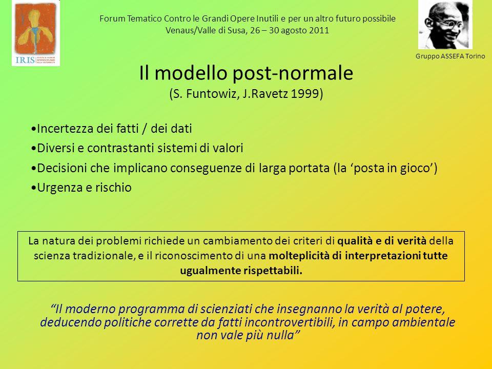 Forum Tematico Contro le Grandi Opere Inutili e per un altro futuro possibile Venaus/Valle di Susa, 26 – 30 agosto 2011 Gruppo ASSEFA Torino Il modello post-normale (S.