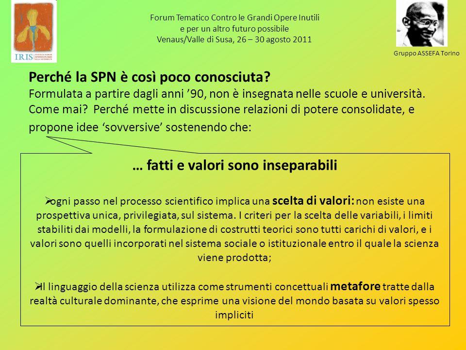 Forum Tematico Contro le Grandi Opere Inutili e per un altro futuro possibile Venaus/Valle di Susa, 26 – 30 agosto 2011 Gruppo ASSEFA Torino Perché la SPN è così poco conosciuta.