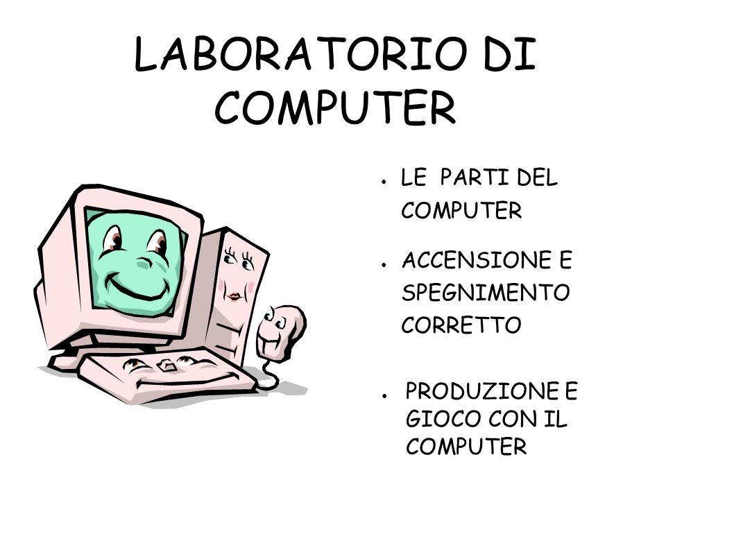 LABORATORIO DI COMPUTER PRODUZIONE E GIOCO CON IL COMPUTER LE PARTI DEL COMPUTER ACCENSIONE E SPEGNIMENTO CORRETTO