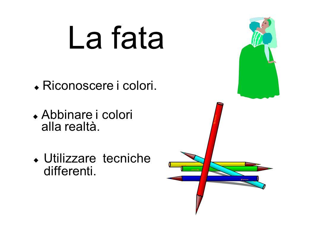 La fata Utilizzare tecniche differenti. Riconoscere i colori. Abbinare i colori alla realtà.