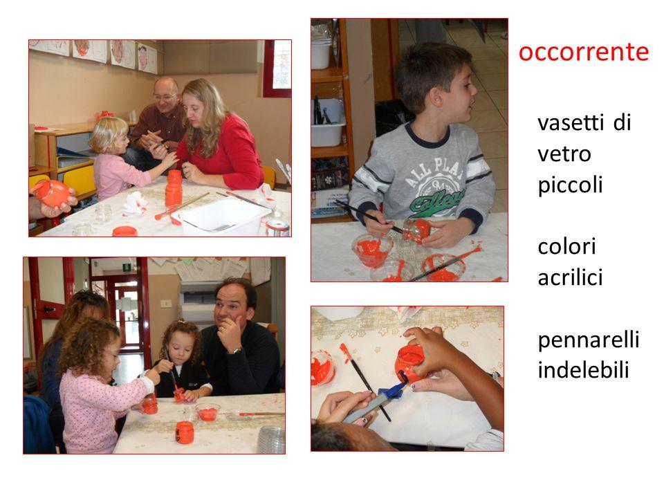 occorrente vasetti di vetro piccoli colori acrilici pennarelli indelebili