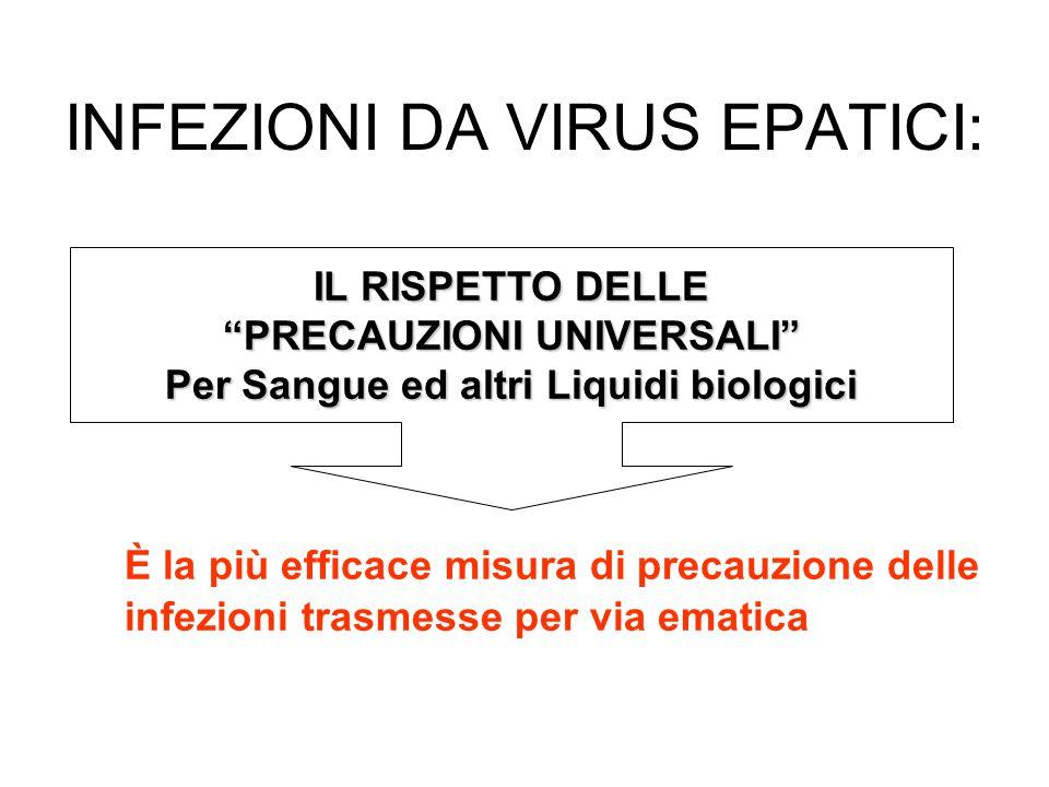 INFEZIONI DA VIRUS EPATICI: È la più efficace misura di precauzione delle infezioni trasmesse per via ematica IL RISPETTO DELLE PRECAUZIONI UNIVERSALI Per Sangue ed altri Liquidi biologici