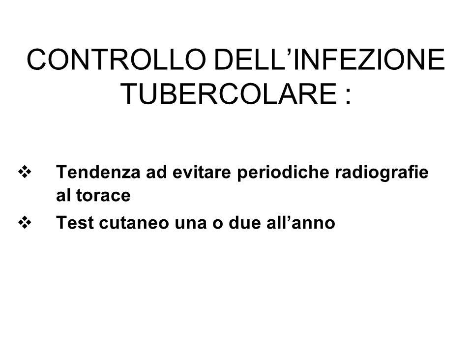 CONTROLLO DELLINFEZIONE TUBERCOLARE : Tendenza ad evitare periodiche radiografie al torace Test cutaneo una o due allanno