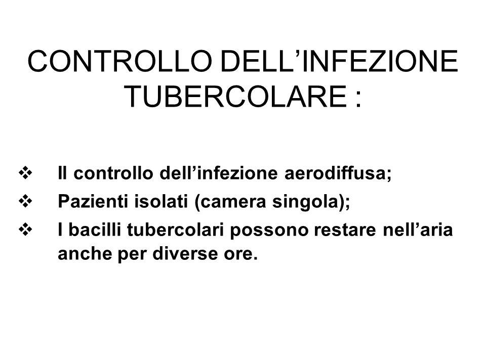 CONTROLLO DELLINFEZIONE TUBERCOLARE : Il controllo dellinfezione aerodiffusa; Pazienti isolati (camera singola); I bacilli tubercolari possono restare nellaria anche per diverse ore.