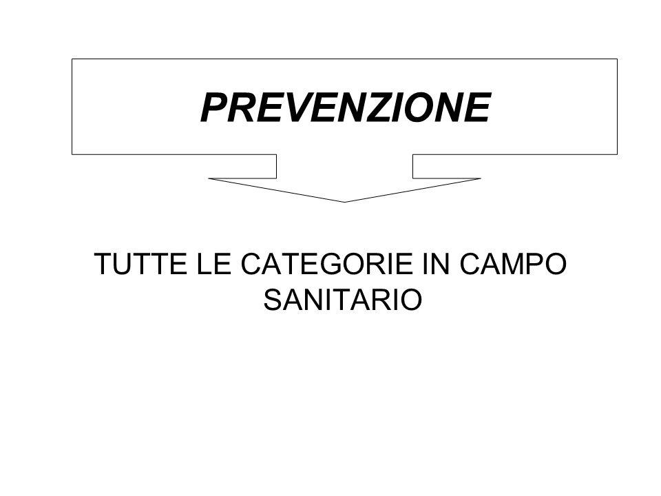 TUTTE LE CATEGORIE IN CAMPO SANITARIO PREVENZIONE