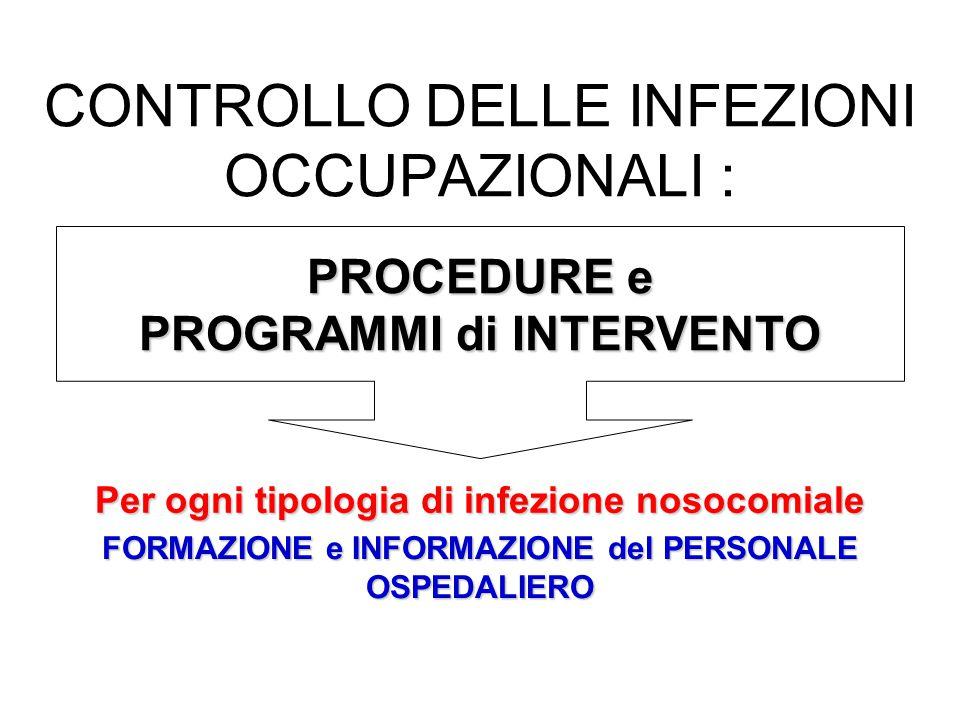 CONTROLLO DELLE INFEZIONI OCCUPAZIONALI : PROCEDURE e PROGRAMMI di INTERVENTO Per ogni tipologia di infezione nosocomiale FORMAZIONE e INFORMAZIONE del PERSONALE OSPEDALIERO