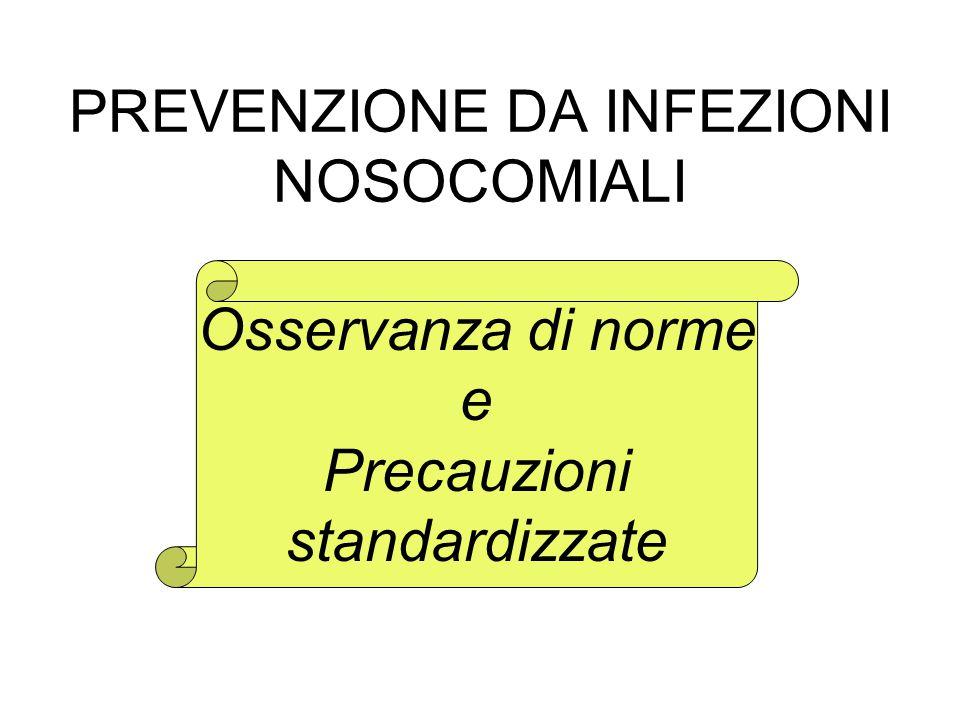 PREVENZIONE DA INFEZIONI NOSOCOMIALI Osservanza di norme e Precauzioni standardizzate