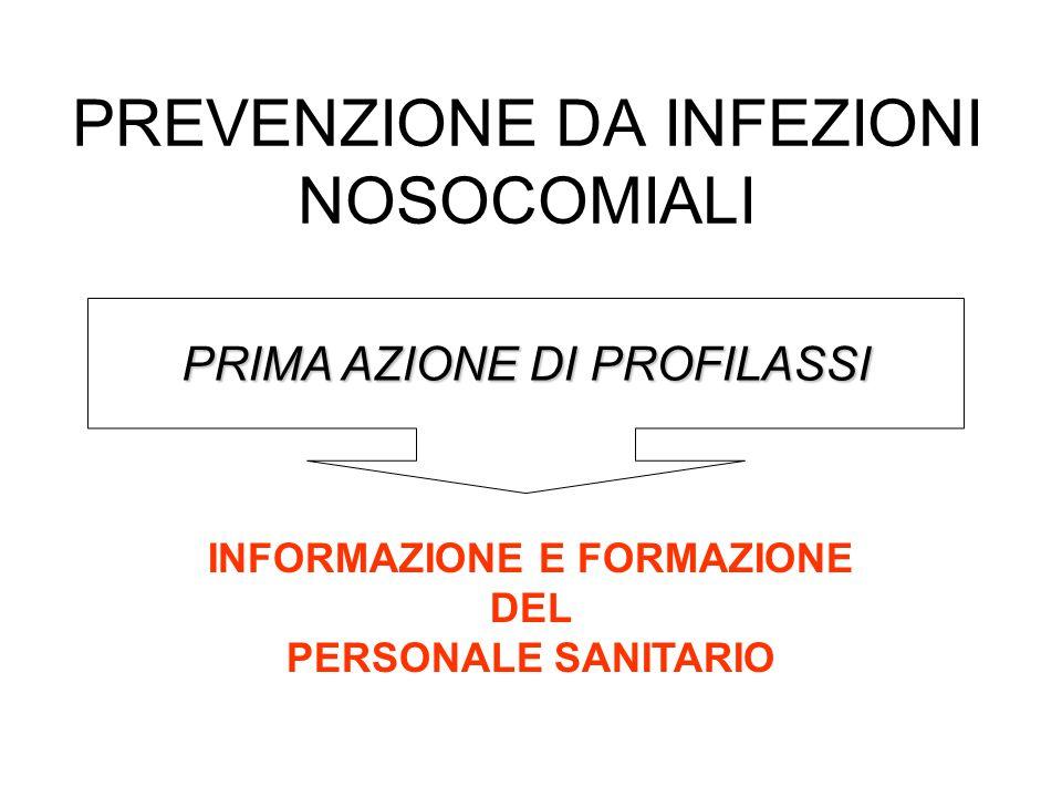 PREVENZIONE DA INFEZIONI NOSOCOMIALI PRIMA AZIONE DI PROFILASSI INFORMAZIONE E FORMAZIONE DEL PERSONALE SANITARIO