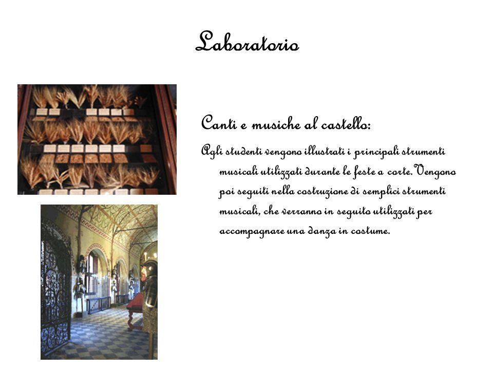 Laboratorio Canti e musiche al castello: Agli studenti vengono illustrati i principali strumenti musicali utilizzati durante le feste a corte.Vengono
