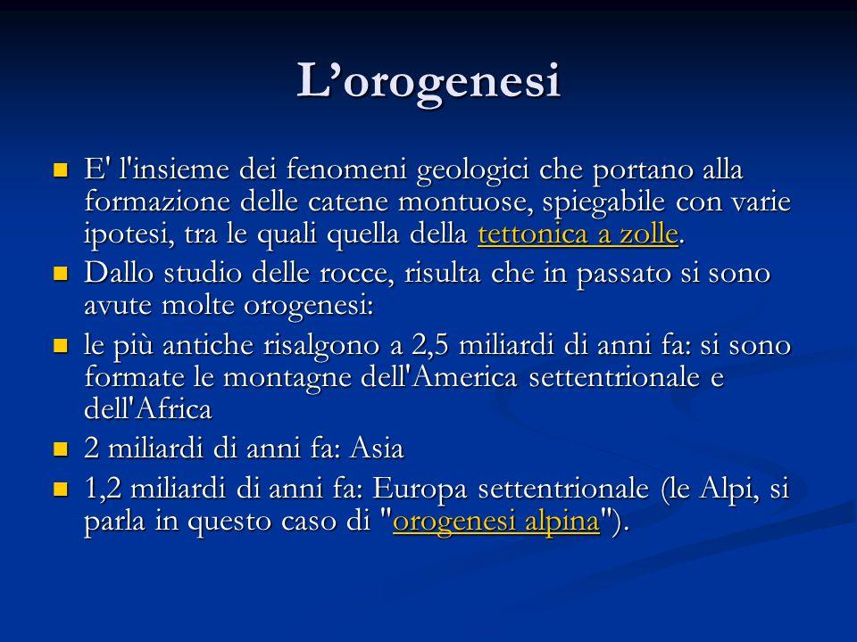 Lorogenesi E' l'insieme dei fenomeni geologici che portano alla formazione delle catene montuose, spiegabile con varie ipotesi, tra le quali quella de