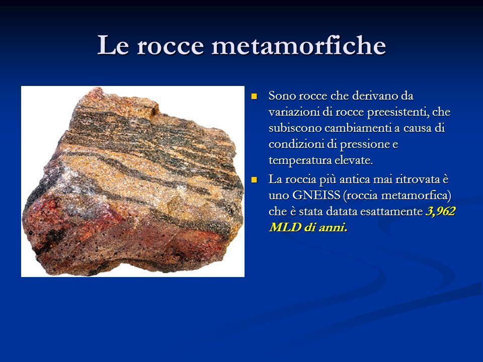 Le rocce metamorfiche Sono rocce che derivano da variazioni di rocce preesistenti, che subiscono cambiamenti a causa di condizioni di pressione e temp
