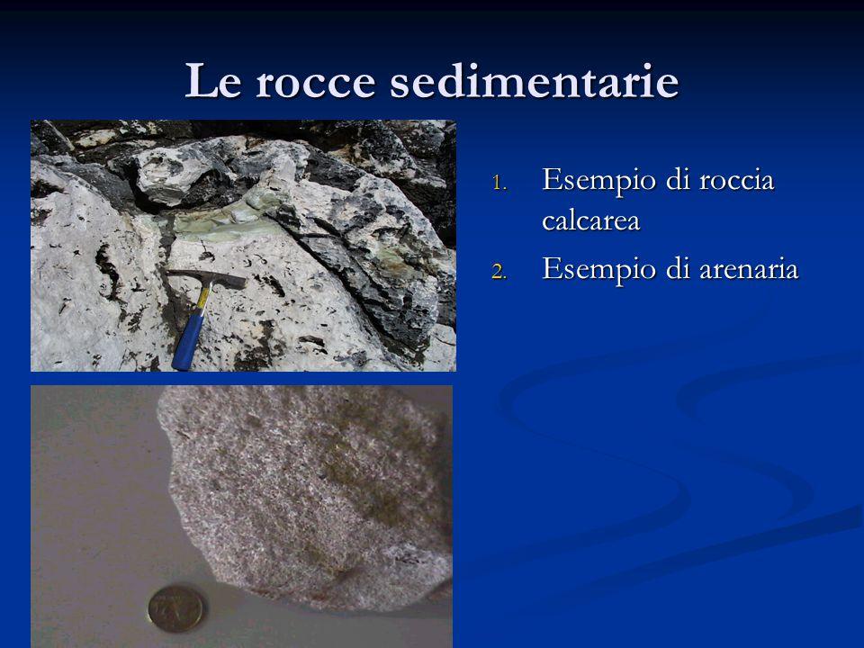 Le rocce sedimentarie 1. Esempio di roccia calcarea 2. Esempio di arenaria