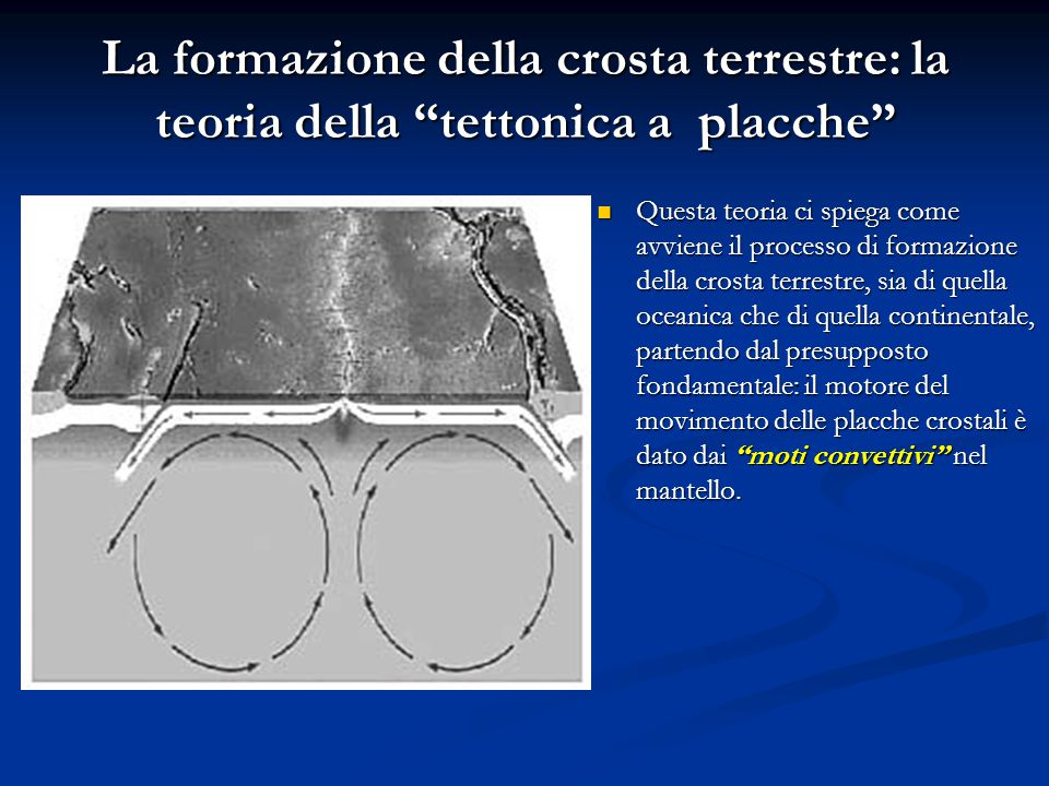 La formazione della crosta terrestre: la teoria della tettonica a placche Questa teoria ci spiega come avviene il processo di formazione della crosta