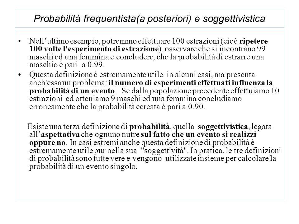 Nellultimo esempio, potremmo effettuare 100 estrazioni (cioè ripetere 100 volte l esperimento di estrazione), osservare che si incontrano 99 maschi ed una femmina e concludere, che la probabilità di estrarre una maschio è pari a 0.99.