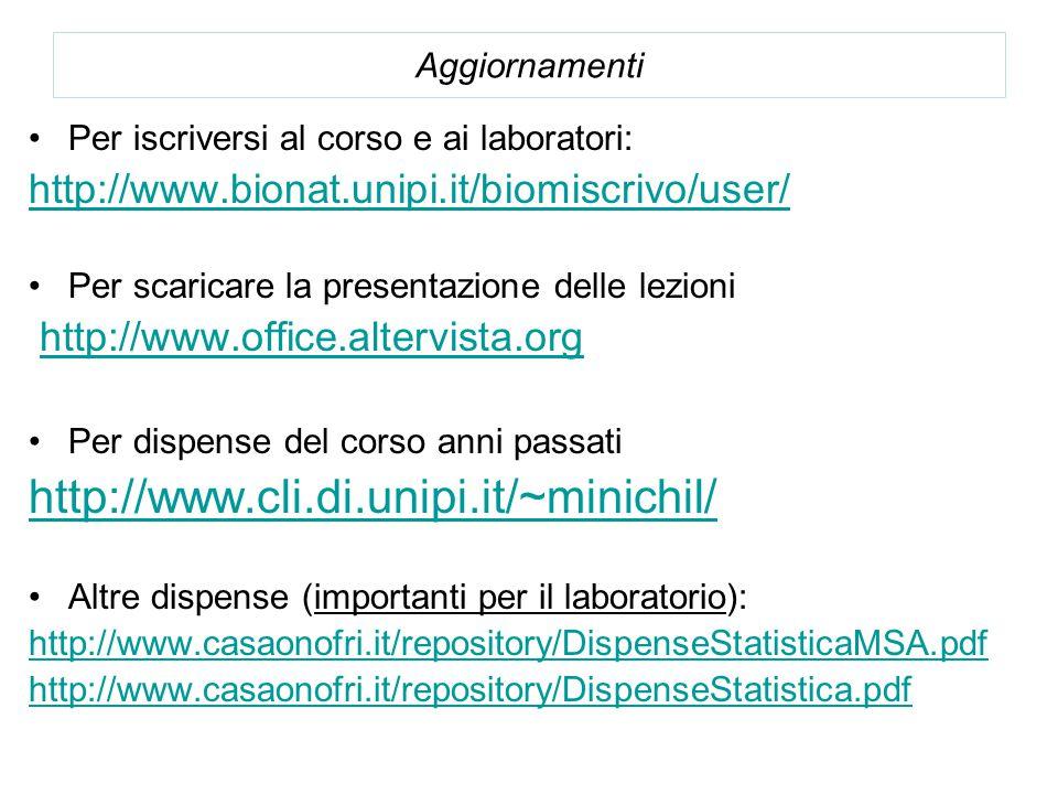 Aggiornamenti Per iscriversi al corso e ai laboratori: http://www.bionat.unipi.it/biomiscrivo/user/ Per scaricare la presentazione delle lezioni http://www.office.altervista.org Per dispense del corso anni passati http://www.cli.di.unipi.it/~minichil/ Altre dispense (importanti per il laboratorio): http://www.casaonofri.it/repository/DispenseStatisticaMSA.pdf http://www.casaonofri.it/repository/DispenseStatistica.pdf