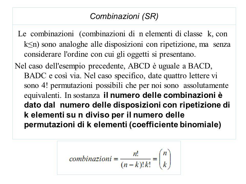Combinazioni (SR) Le combinazioni (combinazioni di n elementi di classe k, con kn) sono analoghe alle disposizioni con ripetizione, ma senza considerare l ordine con cui gli oggetti si presentano.