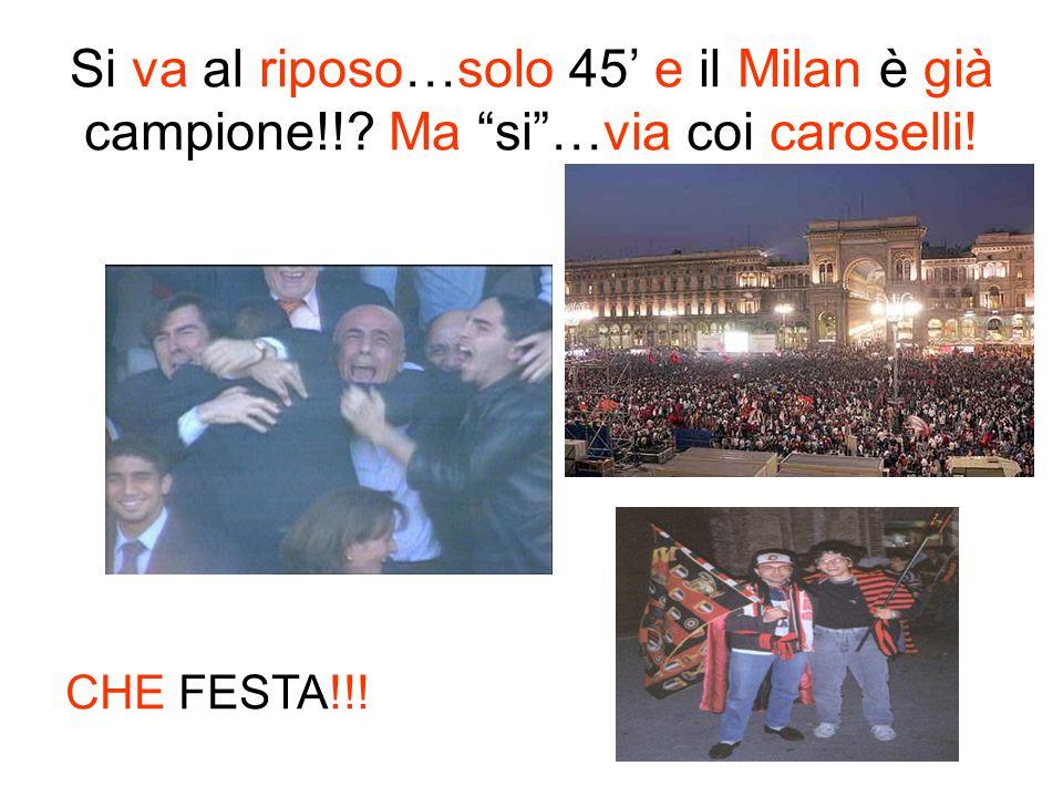 Si va al riposo…solo 45 e il Milan è già campione!!? Ma si…via coi caroselli! CHE FESTA!!!