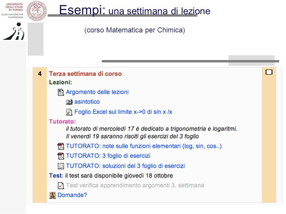 Esempi: una settimana di lezione (corso Matematica per Chimica)