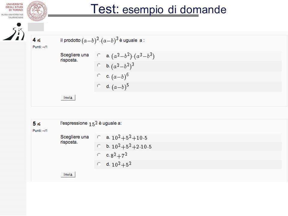 Test: esempio di domande