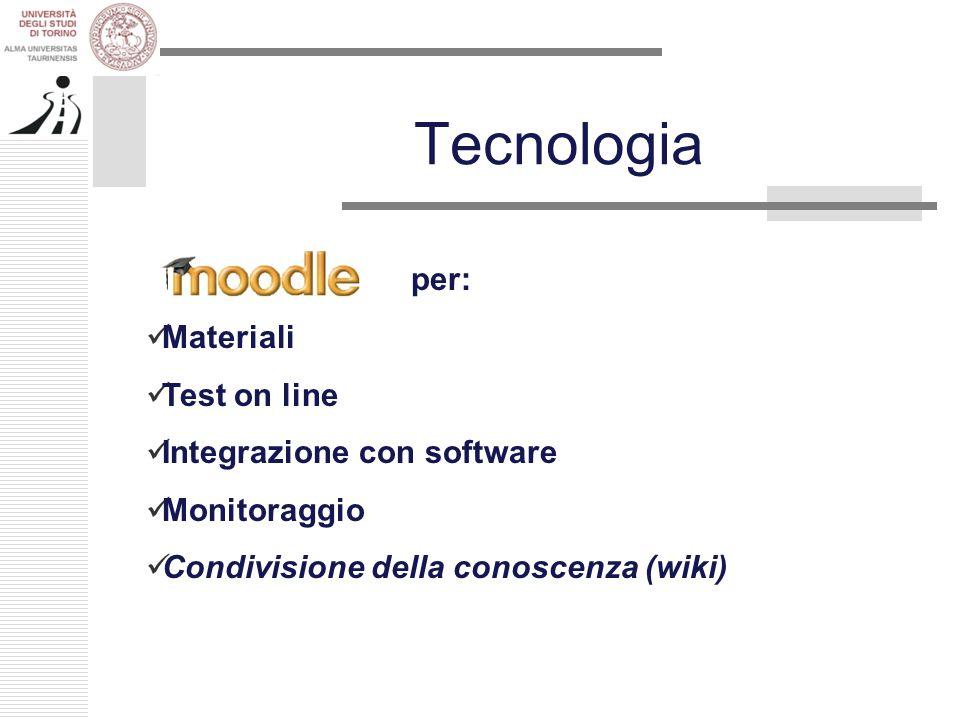 Tecnologia per: Materiali Test on line Integrazione con software Monitoraggio Condivisione della conoscenza (wiki)