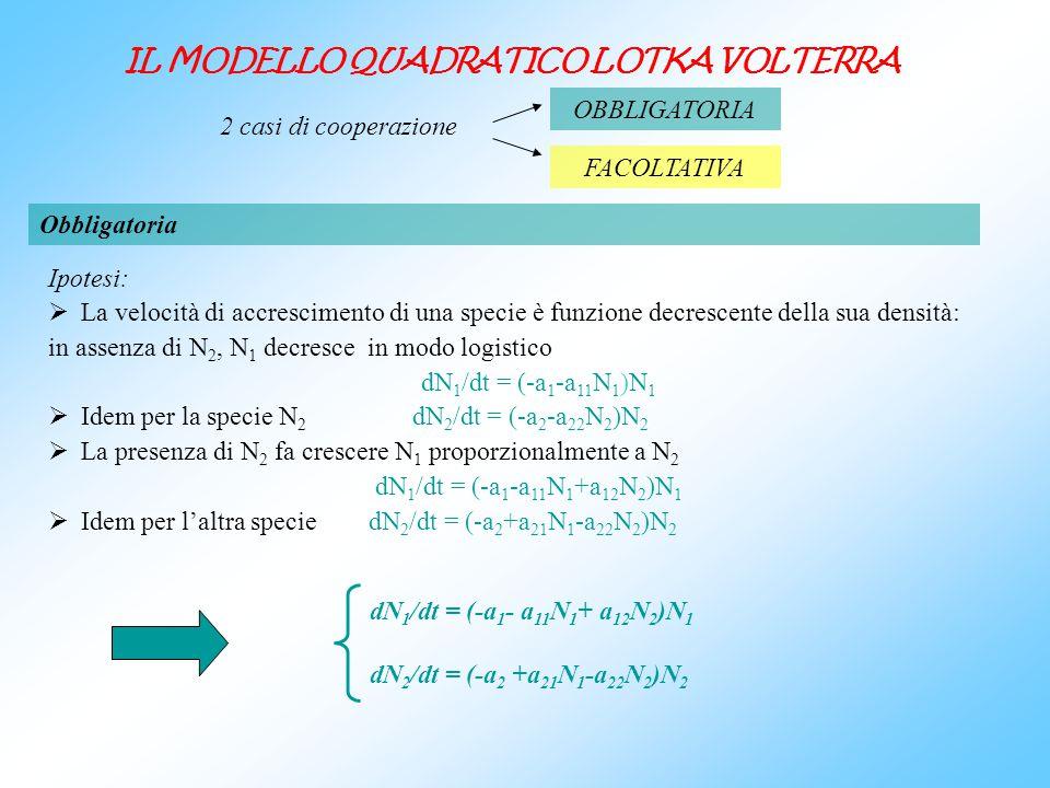 IL MODELLO QUADRATICO LOTKA VOLTERRA Ipotesi: La velocità di accrescimento di una specie è funzione decrescente della sua densità: in assenza di N 2,