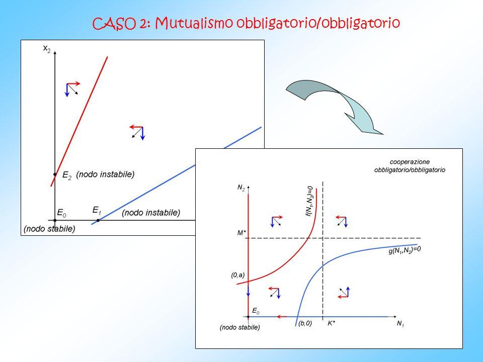 Poniamo N 1 essere la specie obbligatoria così che la isoclina incontri lasse y a (0, a) ed N 2 essere la specie facoltativa così che la isoclina incontri lasse y in (0,M).