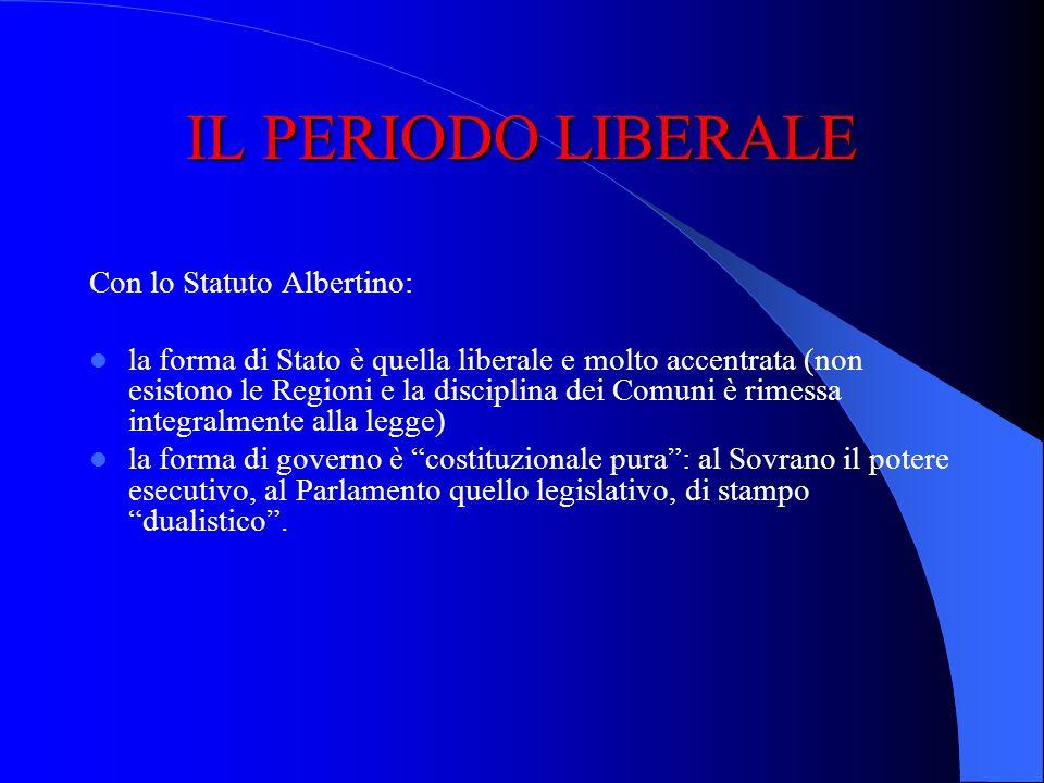 IL PERIODO LIBERALE Il 4 marzo 1848 segna la data di concessione dello Statuto Albertino, concesso dal Re Carlo Alberto al Regno di Sardegna, diventat