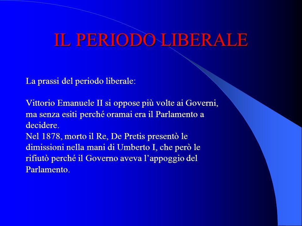 IL PERIODO LIBERALE La prassi del periodo liberale: la forma di governo diviene quella parlamentare: i Governi devono avere la fiducia del Parlamento