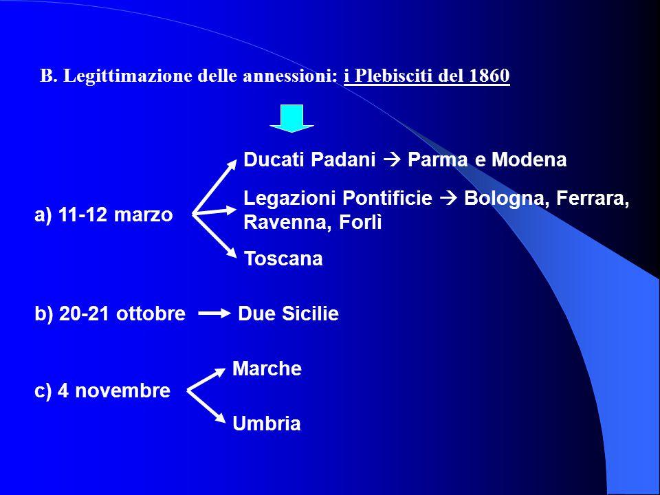 A. Modalità delle annessioni Guerra internazionale: Lombardia 1. Guerra internazionale: Lombardia Vittoria militare franco-piemontese (Magenta e Solfe