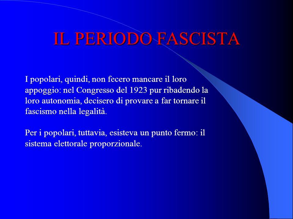 IL PERIODO FASCISTA Nel 1923 nasce la Milizia Fascista: la Milizia Volontaria per la Sicurezza Nazionale. Sempre nel 1923 si adotta la legge elettoral